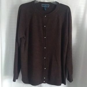 Karen Scott Chocolate Brown Cardigan